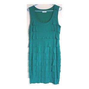 Calvin Klein green tier sleeveless dress